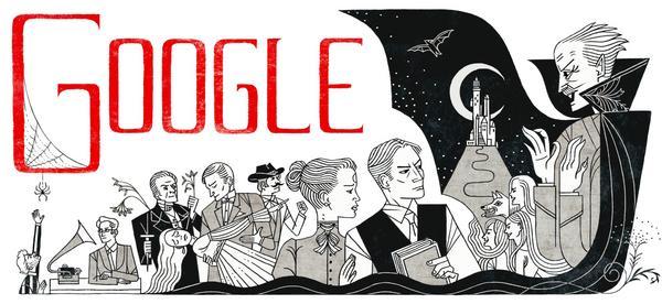Bram Stoker doodle © 2012 Google